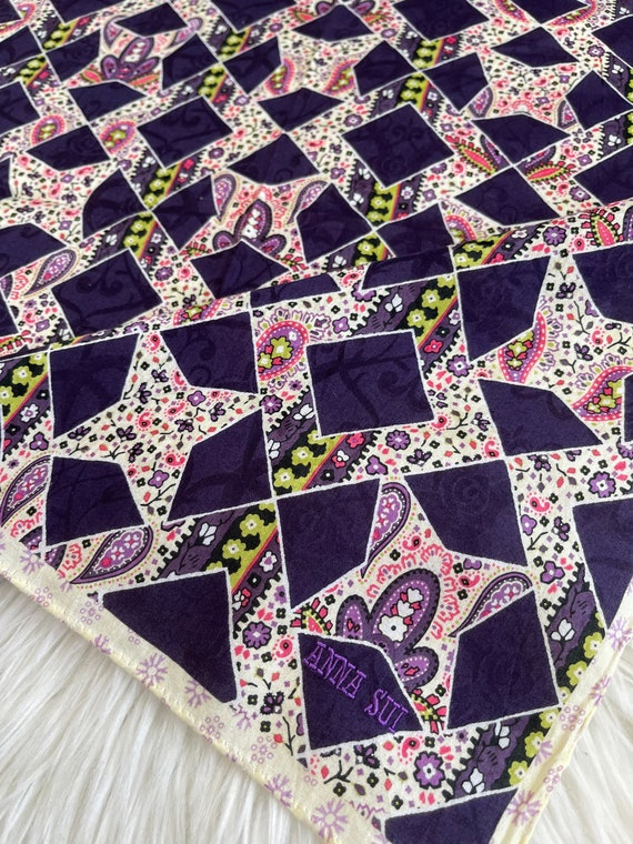 """Anna Sui Vintage Handkerchief Made in Japan 21""""x2… - image 3"""