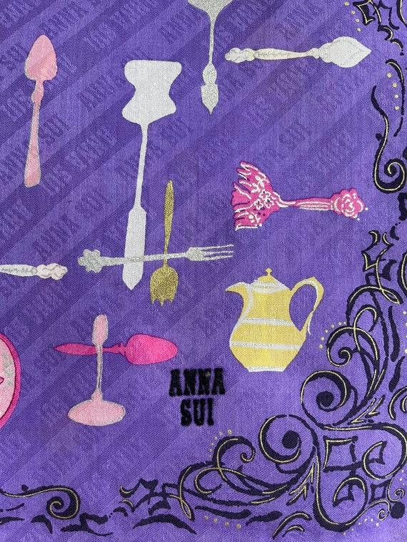 """Anna Sui Vintage Handkerchief Made in Japan 18""""x1… - image 4"""