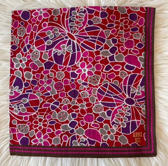 "Anna Sui Vintage Handkerchief 19""x19"" Cotton - image 2"