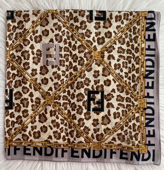 "FENDI Vintage Handkerchief Made in Japan 23""x23"" C"