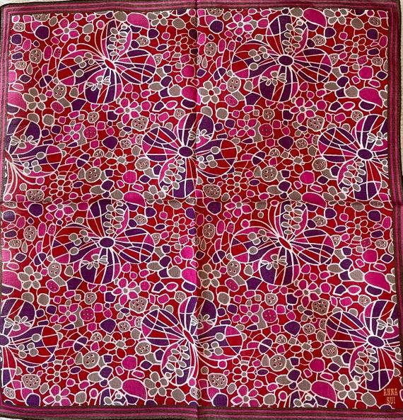 "Anna Sui Vintage Handkerchief 19""x19"" Cotton"