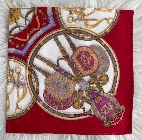 TRUSSARDI Vintage Handkerchief Made in Japan 19\u201dx19\u201d Cotton
