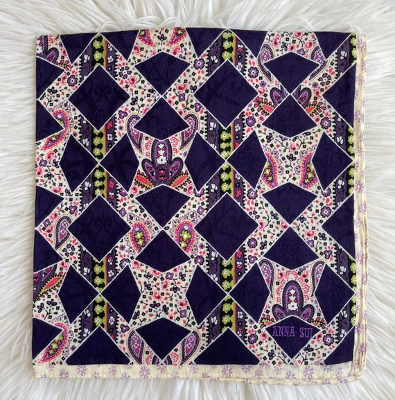 """Anna Sui Vintage Handkerchief Made in Japan 21""""x2… - image 2"""