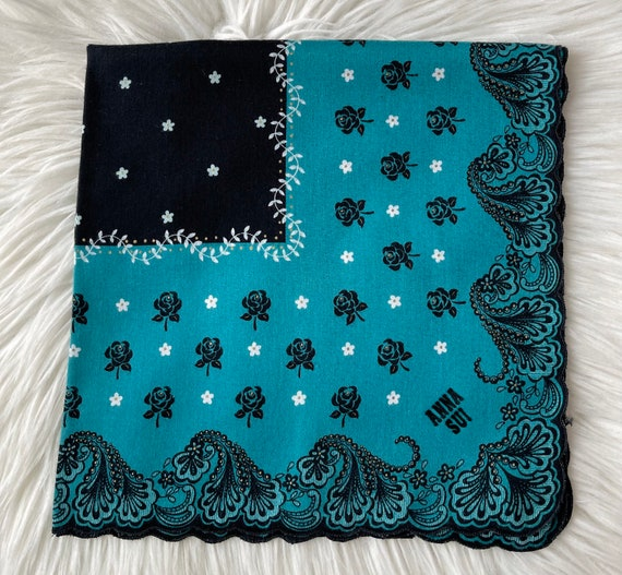 """Anna Sui Vintage Handkerchief Made in Japan 18""""x1… - image 2"""