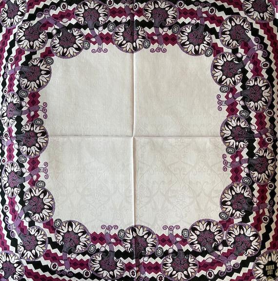 Anna Sui Vintage Handkerchief 22 x 22 inches, Aut… - image 5