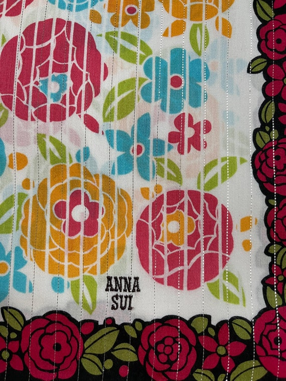 """Anna Sui Vintage Handkerchief Made in Japan 22""""x2… - image 4"""