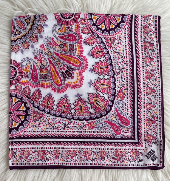 """Anna Sui Vintage Handkerchief Made in Japan 22""""x2… - image 2"""