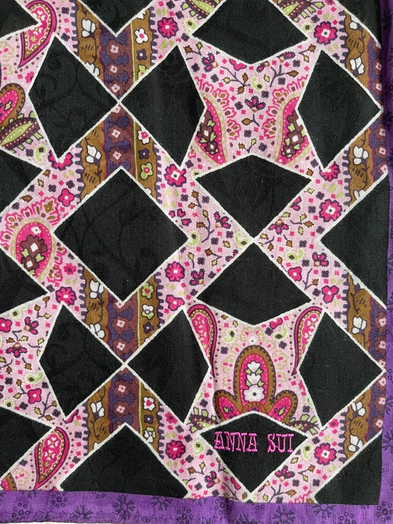 """Anna Sui Vintage Handkerchief Made in Japan 23""""x2… - image 4"""