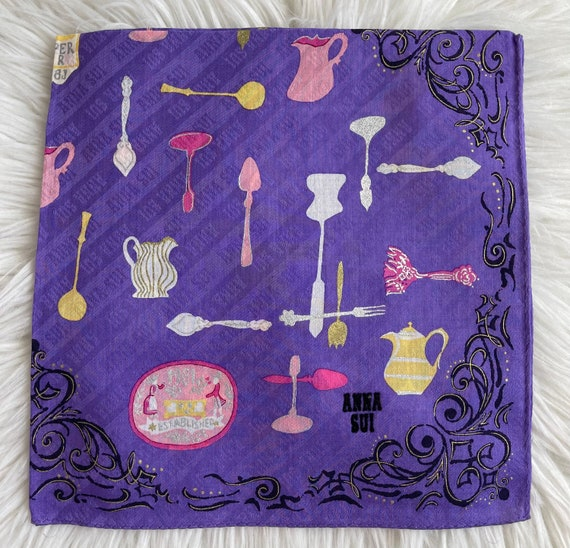 """Anna Sui Vintage Handkerchief Made in Japan 18""""x1… - image 3"""