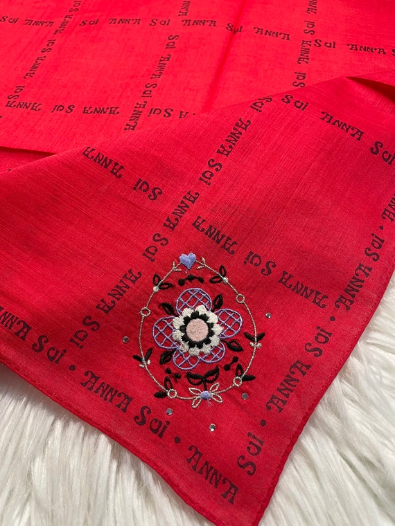 """Anna Sui Vintage Handkerchief Made in Japan 19""""x1… - image 1"""