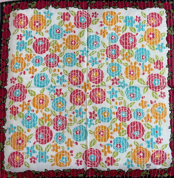 """Anna Sui Vintage Handkerchief Made in Japan 22""""x2… - image 3"""
