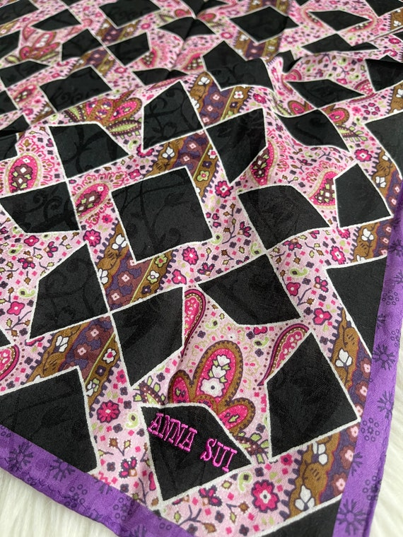 """Anna Sui Vintage Handkerchief Made in Japan 23""""x2… - image 2"""