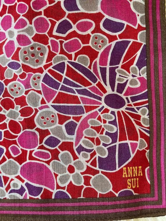 "Anna Sui Vintage Handkerchief 19""x19"" Cotton - image 3"