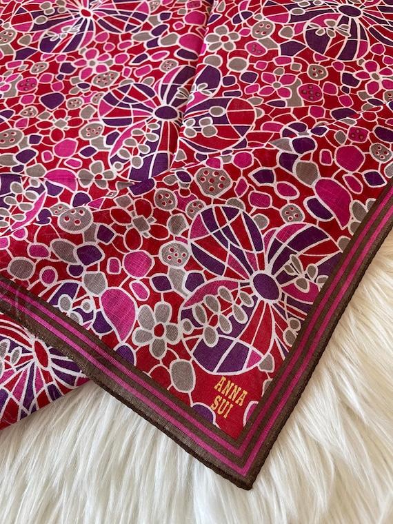 "Anna Sui Vintage Handkerchief 19""x19"" Cotton - image 4"