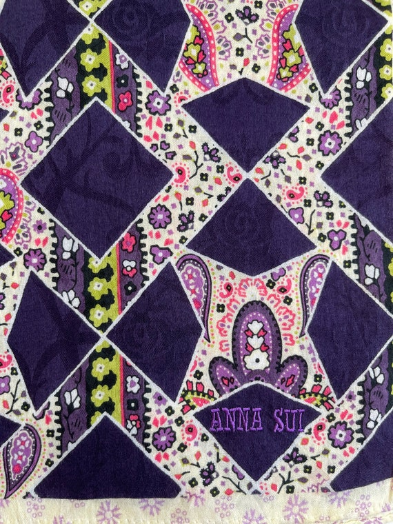 """Anna Sui Vintage Handkerchief Made in Japan 21""""x2… - image 4"""