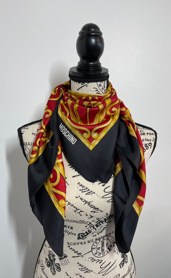Moschino Vintage Silk Scarf 34 x 34 inches, Authen