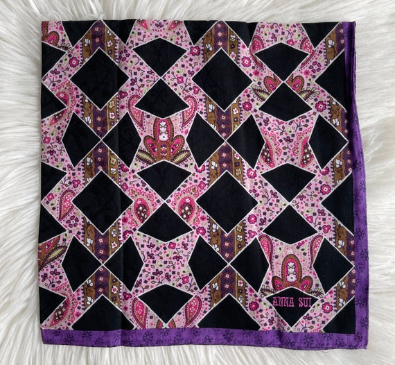 """Anna Sui Vintage Handkerchief Made in Japan 23""""x2… - image 3"""