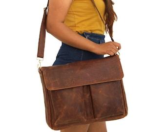 Handmade Brown Leather Bag Purse Messenger BagVintage StyleLeather Hand BagCross body BagShoulder Bag