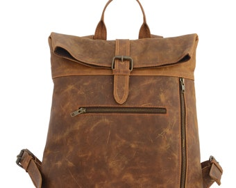 Genuine Leather RollTop Backpack, Handmade Unisex Trip Bag, Women Leather Backpack Brown, Journey Collection Bag, Graduation Gift, Free Ship