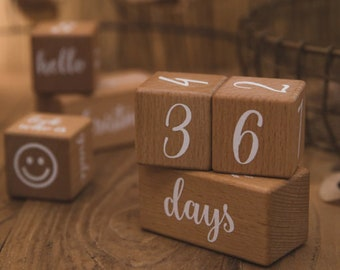 birth gift Wooden birth cubes baby age steps wooden cube box