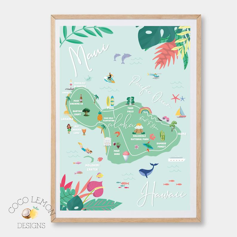 Maui Hawaii Map Print image 0