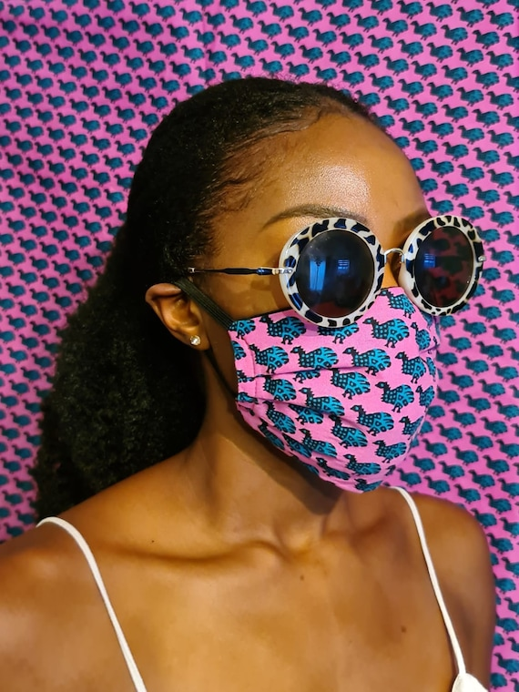 Eco friendly, Adjustable Face Mask 'Pink Peacock'