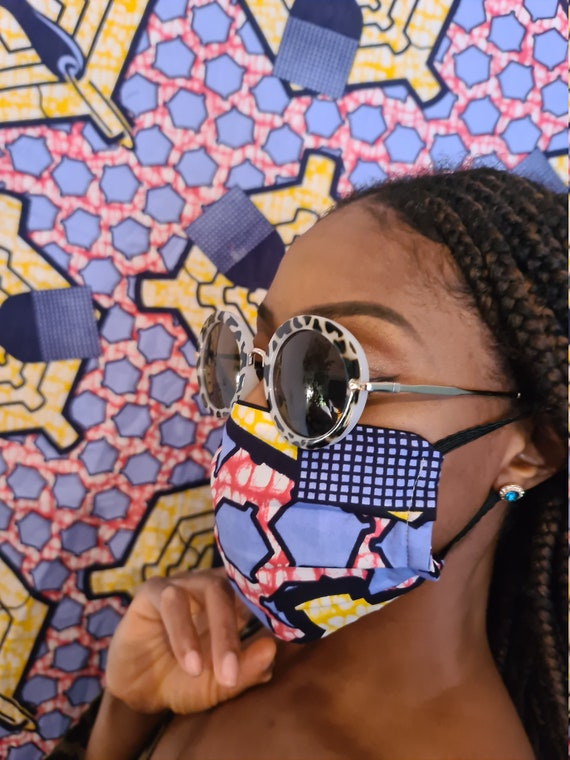 Face Mask 'Candy' with Filter Pocket| 100% Cotton Washable, Reusable Mask| Pleated African Print Face Mask| UK Handmade