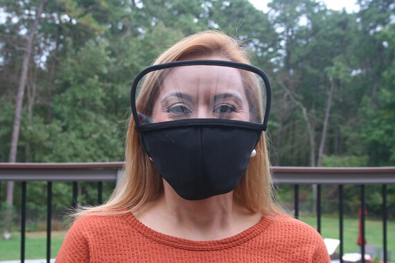 Eye Shield Face Mask, Removable Face Shield, 3 Ply Cloth, Filter Pockets. Covers Mouth, Nose and Eyes.  Available in 7 Colors, Free Shipping