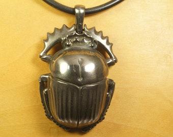 Scarab medallion pendant silver 925 black rhodium plated