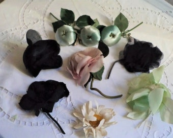 Vintage fabric flowers for hat, bodice, costumes, shabby decor, milliner