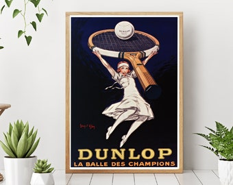 Vintage Advertise Poster - French Tennis DUNLOP advertising poster - Vintage Wall Art - Old advertising poster - Art deco print - Art Deco London