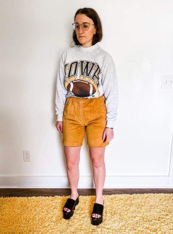 "Vintage 1980s ""Camp"" suede shorts"