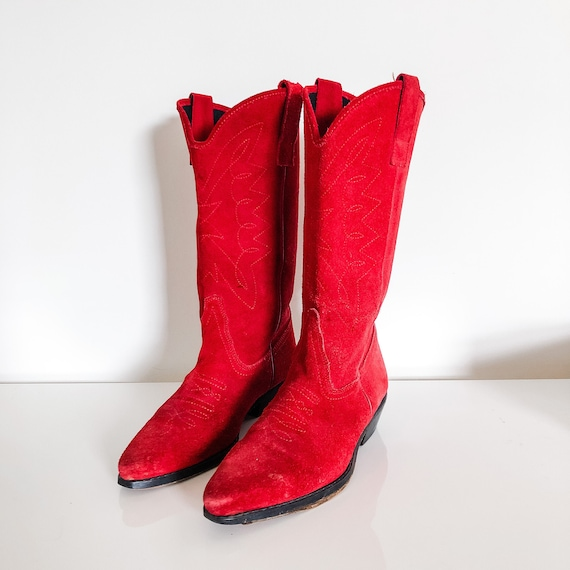 "Vintage 1960s ""Out West"" red suede cowboy boots"