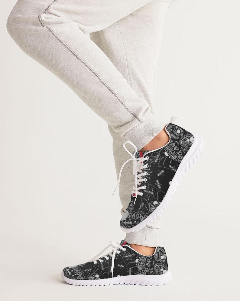 Men/'s Athletic Shoe Short Tempered black bandana skulls n spider webs