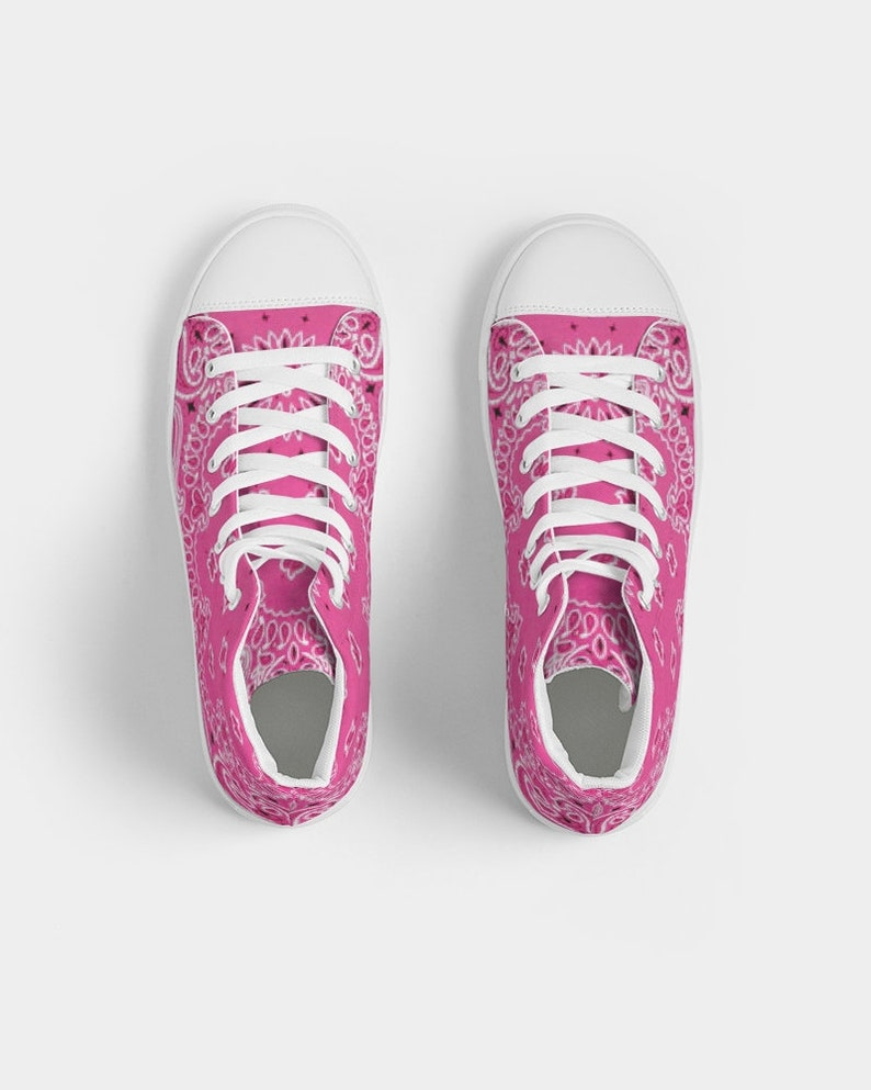 Women/'s Hightop Canvas Shoe Short Tempered Bandana pattern lush pink print
