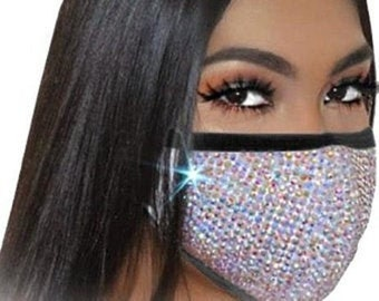 Bling face mask with filter | Etsy