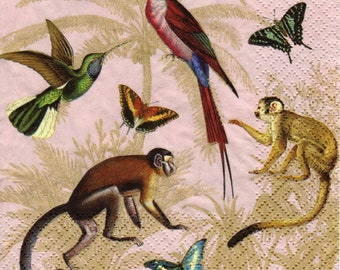 4x Paper Napkins for Decoupage Craft and Party Hey Monkeys