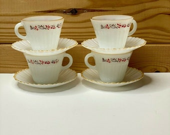 set of four Vintage Termocrisa glass dessert or small soup bowls Christmas flower pattern
