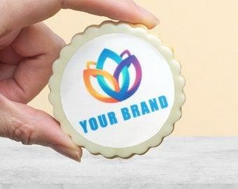 12 Logo Shortbread Cookies | Dozen cookies with logo| Corporate Gift | Custom Cookie| Corporate Gift