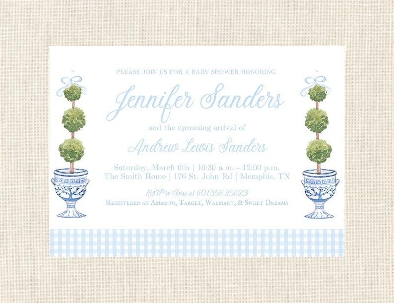 Baby Shower Invitations Boxwood Watercolor