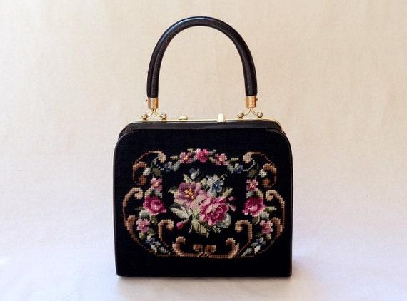1950s/1960s Floral Tapestry Handbag, Vintage Carpe