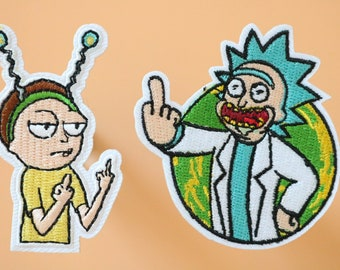 Rick and Morty Heads Iron On//Sew on Appliqué Embroidered Patch Free UK Postage
