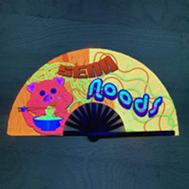 S\u200aend N\u200aoods U\u200aV Glo\u200aw han\u200ad f\u200aan Creative gifts EDM Fan Rave hand fan Clack fan Folding fan Festival fan Party accessories Large hand fan