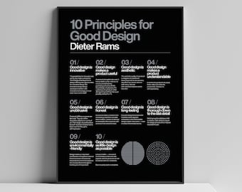 Poster 10 Principles for a good Design, Dieter Rams, Braun, Helvetica, Typographic, Quote, Modern Art, Wall Ar, Industrial Design