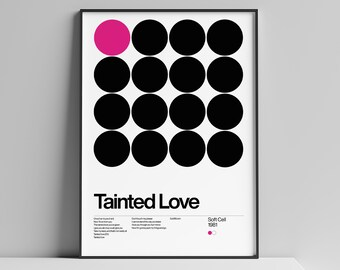 Poster New Wave, Tainted Love - Soft cell 1981, New Wave song Minimalistic Swiss Graphic Design