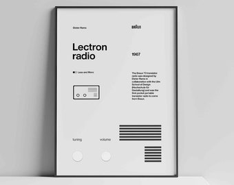 Dieter Rams Braun Lectron radio Helvetica Typographic Poster, Quote, grey, Modern Art, Wall Art, Architecture, Industrial Design