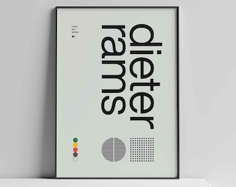 Dieter Rams Helvetica Typographic Poster, Quote, Black and grey, Modern Art, Wall Art, Architecture, Industrial Design, Bauhaus Exhibition