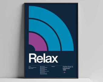 Frankie Goes To Hollywood (FGTH) - Relax - 1984, New Wave song Minimalistic Swiss Graphic Design Poster Art Print