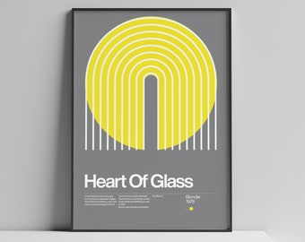 Heart Of Glass - Blondie - 1978, New Wave song Minimalistic Swiss Graphic Design Poster Print