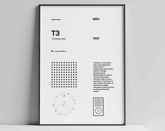 Dieter Rams Braun T3 radio iPod Helvetica Typographic Poster, Quote, light grey, Modern Art, Wall Art, Architecture, Industrial Design